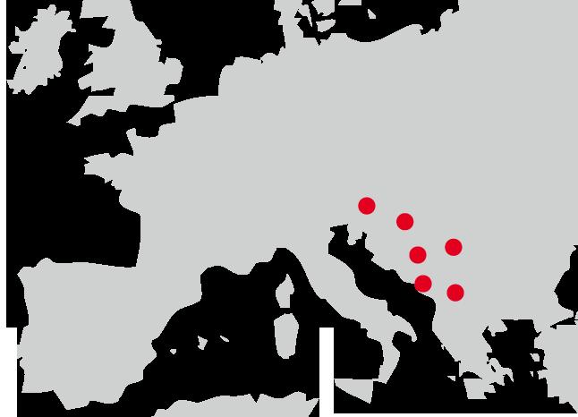Karta Evrope z zastopanimi državami